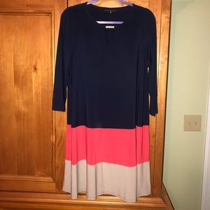 EUC Tiana B. Color Block Stretchy A-Line Dress 14
